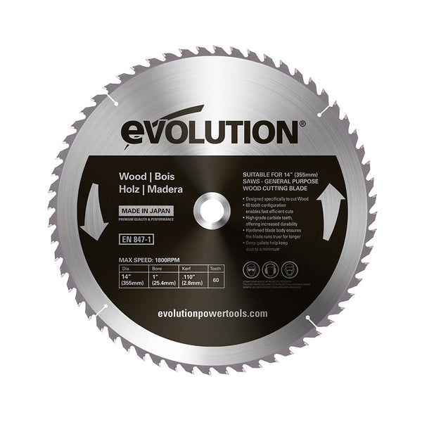 Evolution 14 in. 60T, 1 in. Bore, Tungsten Carbide Tipped, Fine Cut Wood Blade