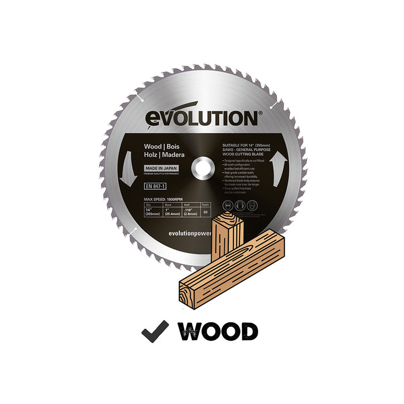 Evolution 14 in. 60T, 1 in. Arbor, Tungsten Carbide Tipped, Fine Cut Wood Blade