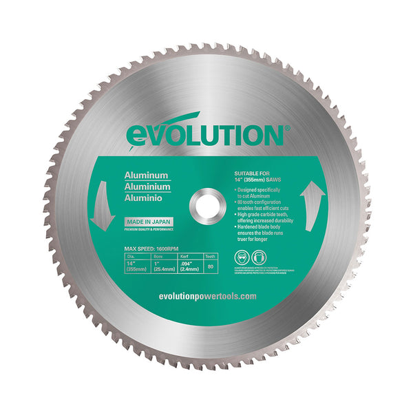 Evolution 14 in. 80T, 1 in. Bore, Tungsten Carbide Tipped Aluminum and Non-Ferrous Metal Cutting Blade