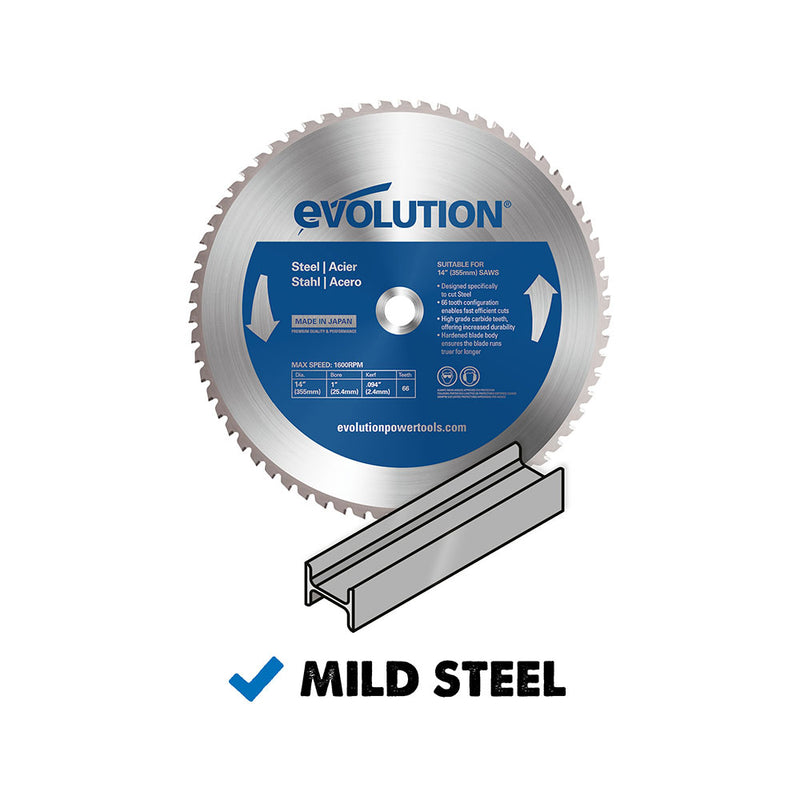 Evolution 14 in. 66T, 1 in. Bore, Tungsten Carbide Tipped Mild Steel and Ferrous Metal Blade