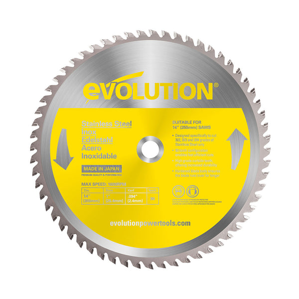 Evolution 14 in. 90T, 1 in. Bore, Tungsten Carbide Tipped Stainless Steel Cutting Blade