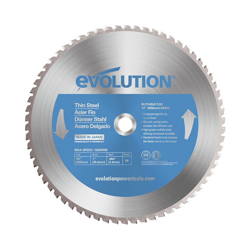 Evolution 14 in. 90T, 1 in. Bore, Tungsten Carbide Tipped Thin Steel and Ferrous Metal Cutting Blade