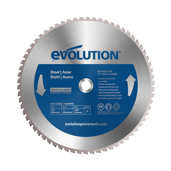 Evolution 15 in. 70T, 1 in. Bore, Tungsten Carbide Tipped Mild Steel and Ferrous Metal Cutting Blade