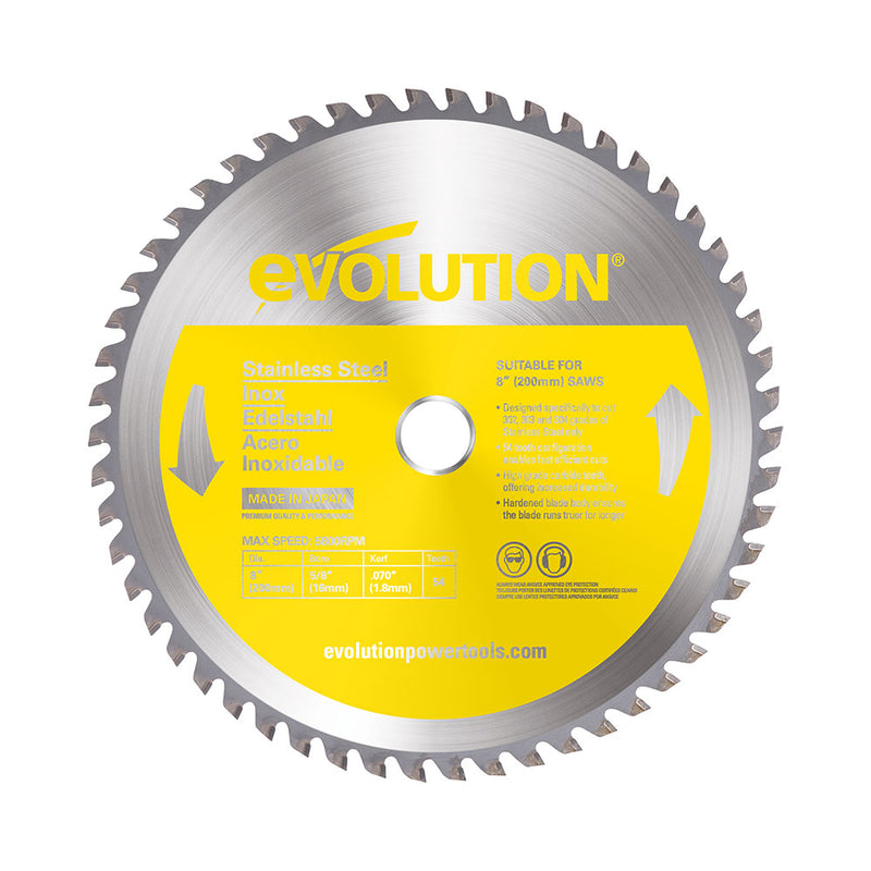 8 in. Stainless Steel TCT Blade - Evolution Power Tools LLC