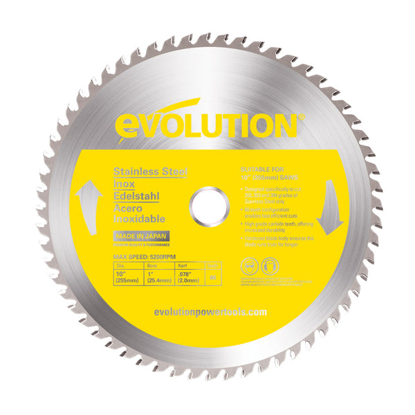 10 in. Stainless Steel TCT Blade - Evolution Power Tools LLC