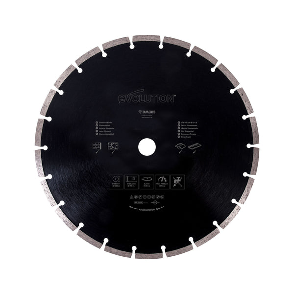 12 in. Diamond Masonry Blade with 1 in. Arbor - Evolution Power Tools LLC