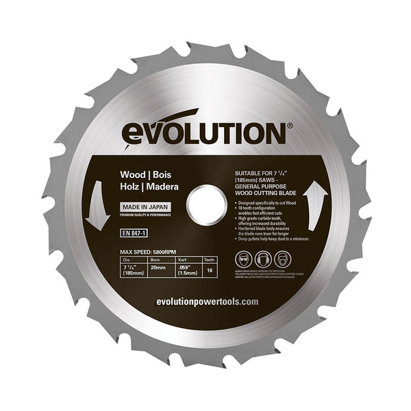 Evolution 7-1/4 in. 18T, 5/8 in. Bore, Tungsten Carbide Tipped, Standard Course-Cutting Rip Blade For Wood
