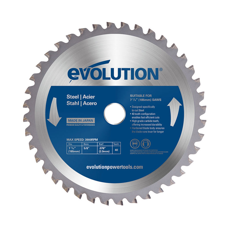Evolution 7-1/4 in. 40T, 25/32 in. Bore, Tungsten Carbide Tipped Mild Steel and Ferrous Metal Cutting Blade