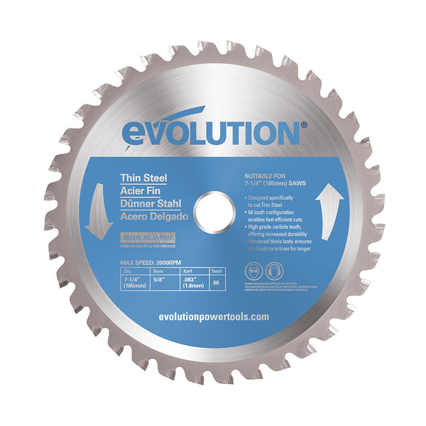 Evolution 7-1/4 in. 68T, 25/32 in. Bore, Tungsten Carbide Tipped Thin Steel and Ferrous Metal Cutting Blade