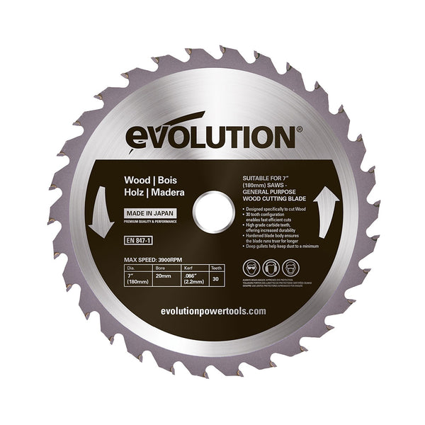 Evolution 7 in. 30T, 25/32 in. Bore, Tungsten Carbide Tipped, Standard Course-Cutting Rip Blade For Wood