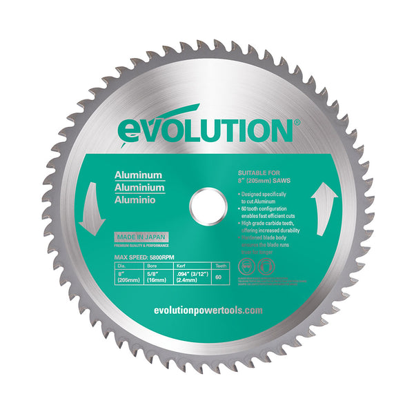 Evolution 8 in. 60T, 25/32 in. Bore, Tungsten Carbide Tipped Aluminum and Non-Ferrous Metal Cutting Blade
