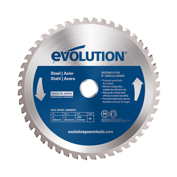 Evolution 9 in. 48T, 1 in. Bore, Tungsten Carbide Tipped Mild Steel and Ferrous Metal Cutting Blade