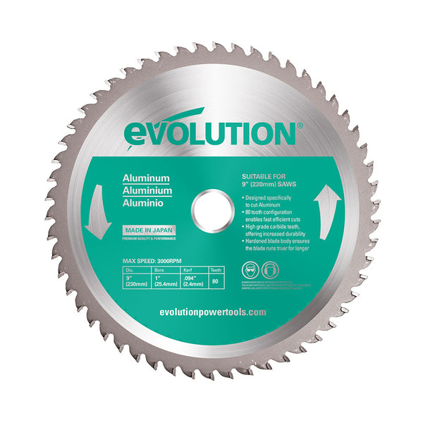 Evolution 9 in. 80T, 1 in. Bore, Tungsten Carbide Tipped Aluminum and Non-Ferrous Metal Cutting Blade