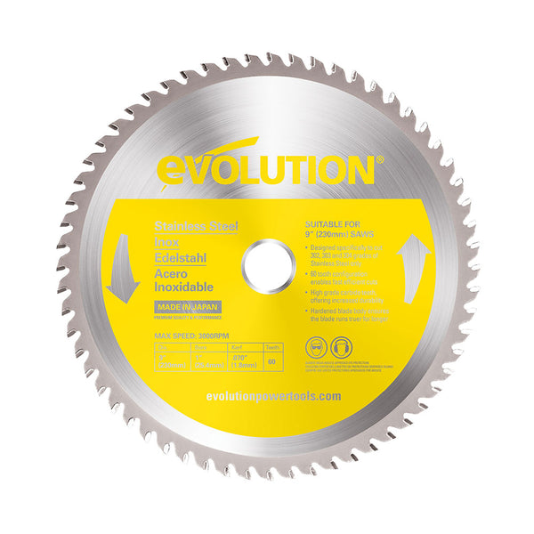 Evolution 9 in. 60T, 1 in. Bore, Tungsten Carbide Tipped Stainless Steel Cutting Blade