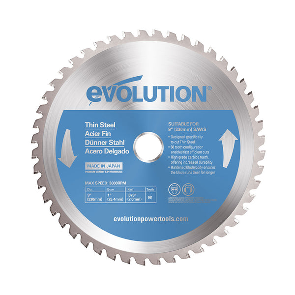 Evolution 9 in. 68T, 1 in. Bore, Tungsten Carbide Tipped Thin Steel and Ferrous Metal Cutting Blade