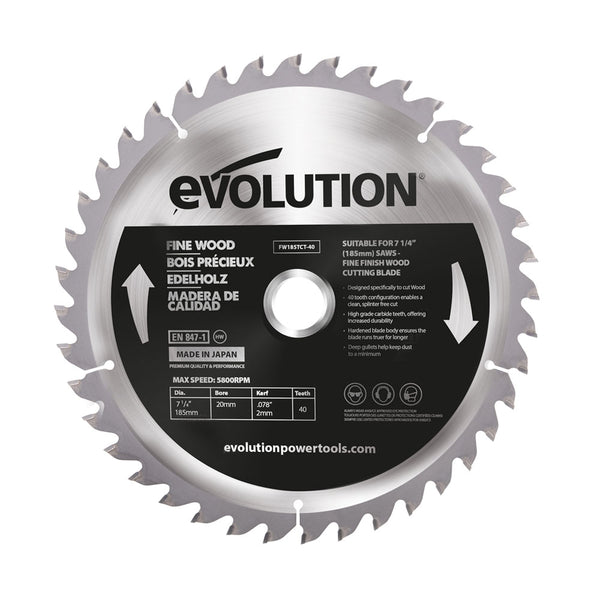 Evolution 7-1/4 in. 40T, 25/32 in. Bore, Tungsten Carbide Tipped Fine Wood Cutting Blade (Fits Miter Saws, Circular Saws & Chop Saws)