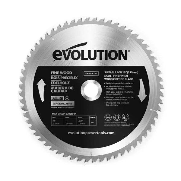 Evolution 10 in. 60T, 1 in. Bore, Tungsten Carbide Tipped Fine Wood Cutting Blade (Fits Miter Saws)