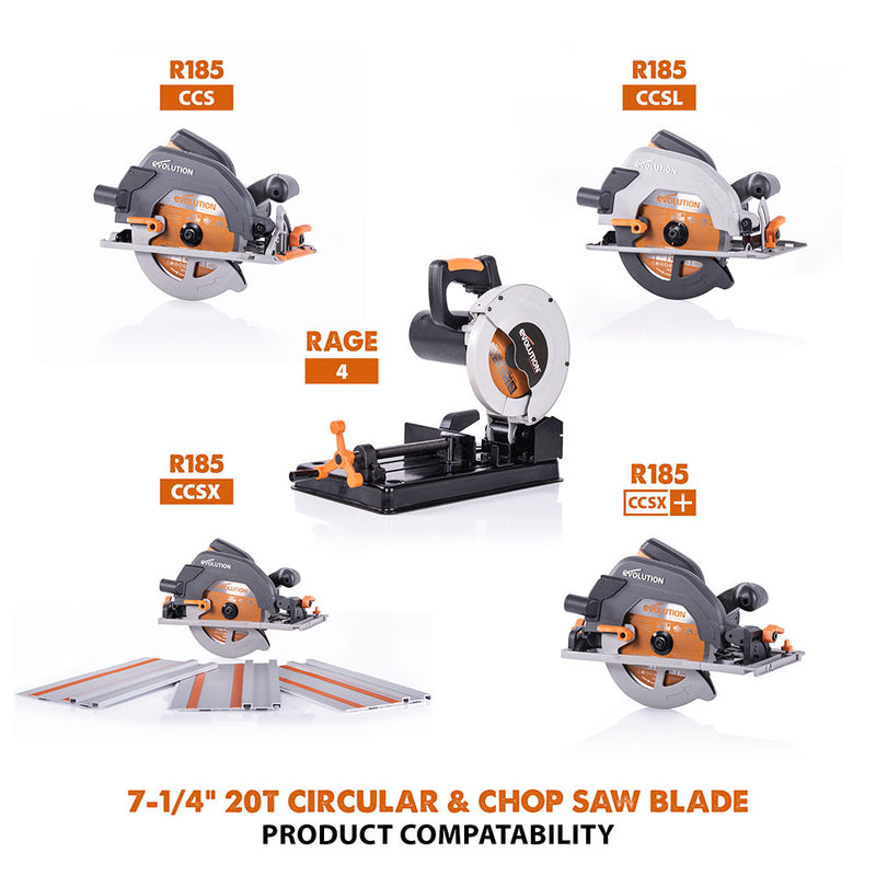 Evolution 7-1/4 in. 20T, 25/32 in. Bore, Tungsten Carbide Tipped Multi-Material Cutting Blade (Circular Saw & Chop Saw Blade)