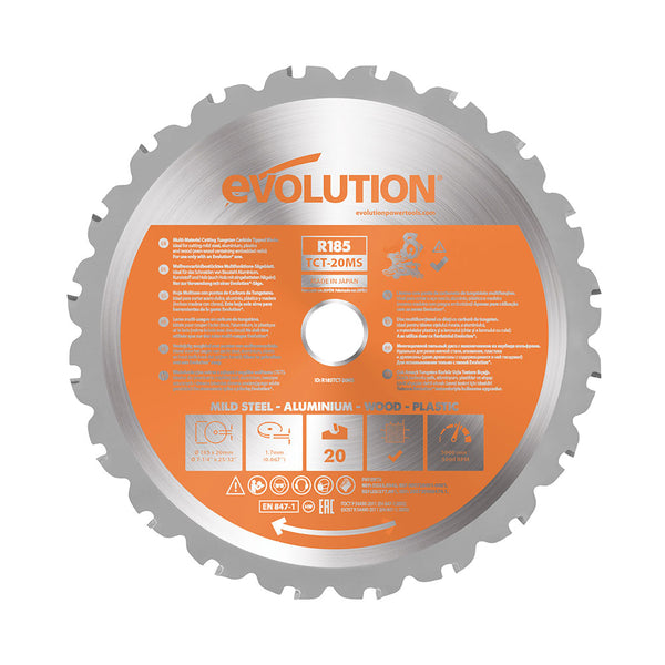 Evolution 7-1/4 in. 20T, 25/32 in. Bore, Tungsten Carbide Tipped Multi-Material Cutting Blade (Miter Saw Blade)