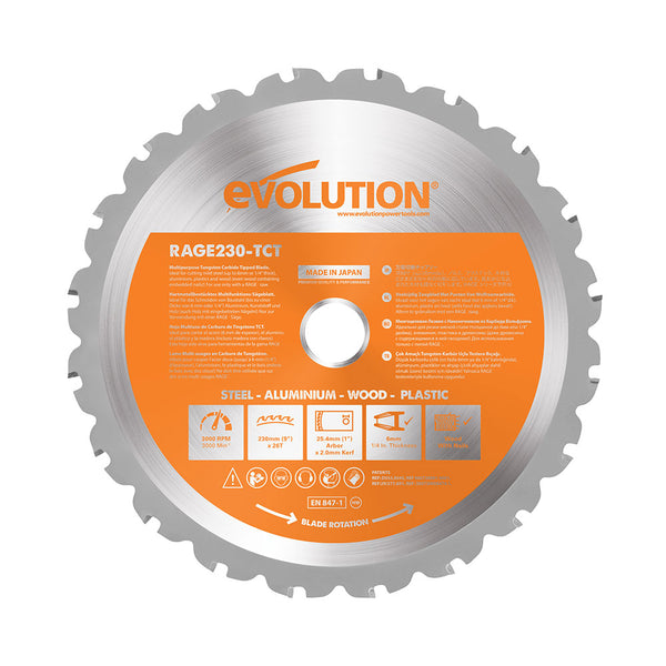 Evolution 9 in. 26T, 1 in. Bore, Tungsten Carbide Tipped Multi-Material Cutting Blade