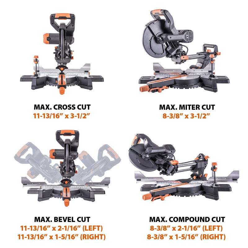 Evolution R255SMS-DB+: Dual Bevel Sliding Miter Saw With 10 in. Multi-Material Cutting Blade