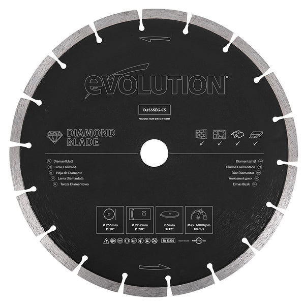 Evolution 10 in., Segmented Edge, 1 in. Bore, Concrete, Stone, Brick Cutting Diamond Blade