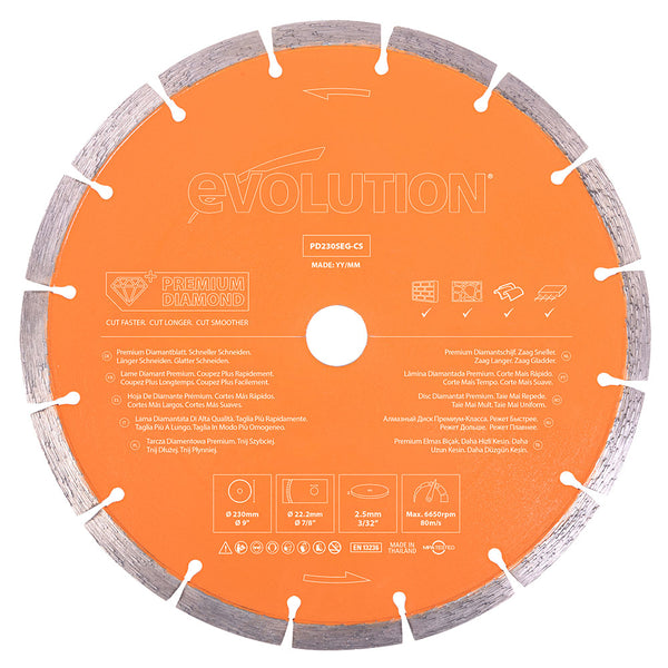 Evolution 9 in., Segmented Edge with High Diamond Concentration, 1 in. Arbor, Premium Diamond Blade