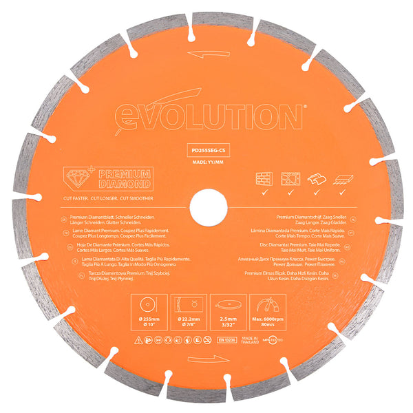 Evolution 10 in., Segmented Edge with High Diamond Concentration, 1 in. Arbor, Premium Diamond Blade