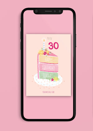 Load image into Gallery viewer, Cake Number Birthday Digital Card