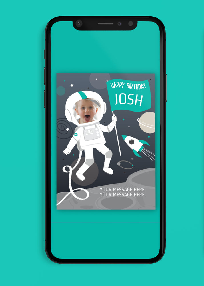 Load image into Gallery viewer, Astronaut Boys Birthday Digital Card