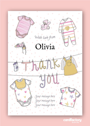 Baby Girl Thank You Digital Card