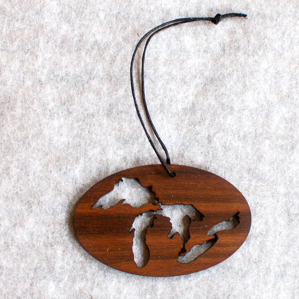Great Lakes Ornament, wood oval
