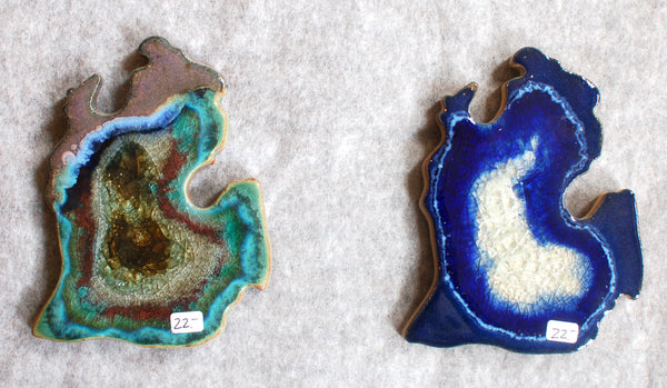 Michigan Coasters, Pottery with Fused Glass