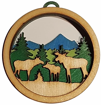 "Moose Ornament (3.5"" diameter), wood"