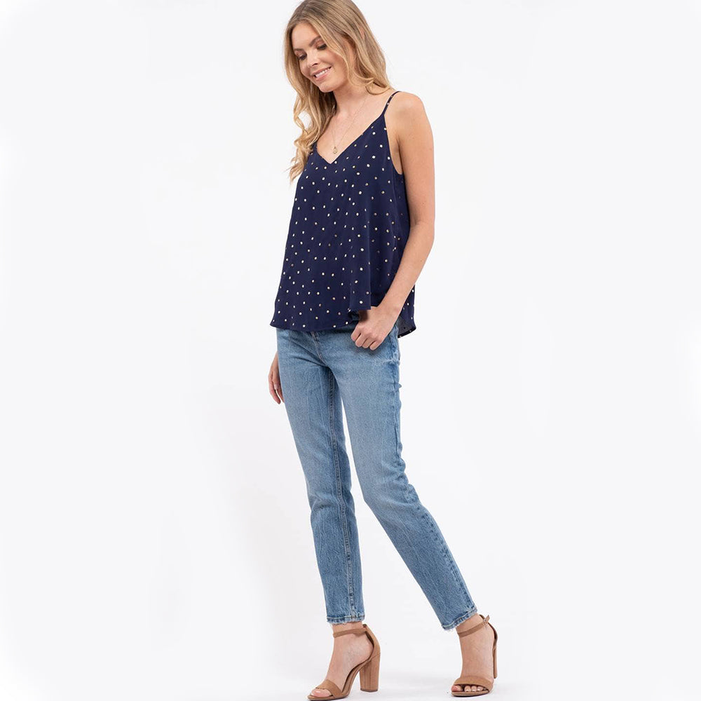 Emila Luxe Dot Print Cami In Navy