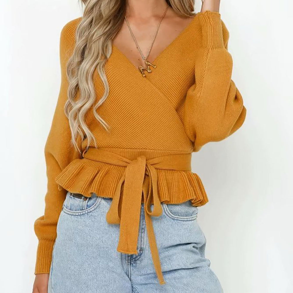 Kym Cropped Tie Jumper In Yellow
