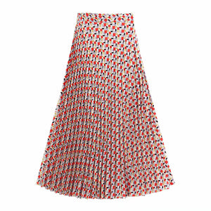 Alessia Pleated Patterned Skirt