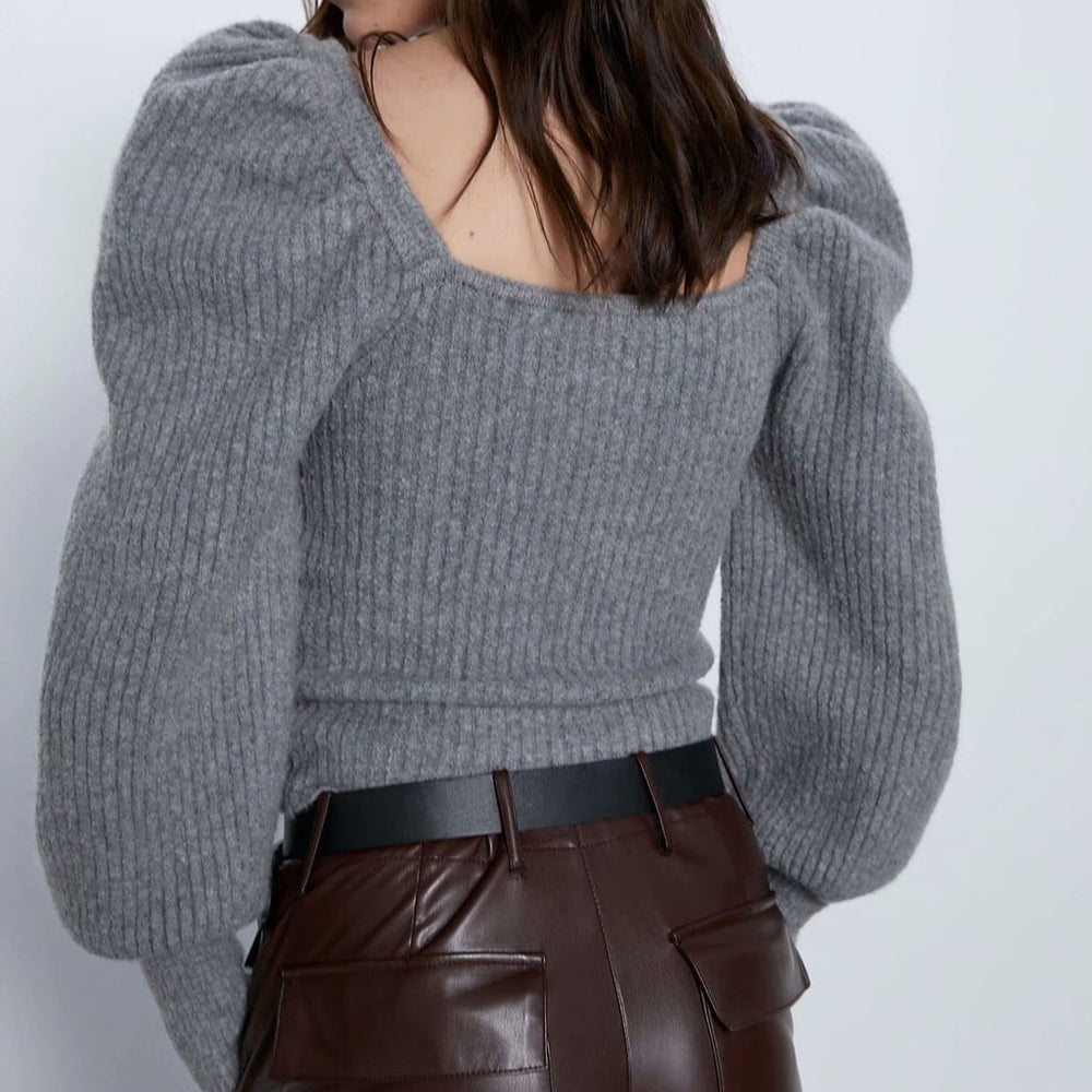 Olive Puff Sleeve Jumper In Grey