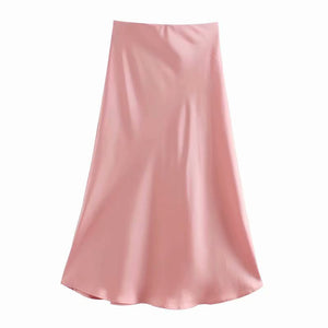 Lola Satin Midi Skirt In Pink