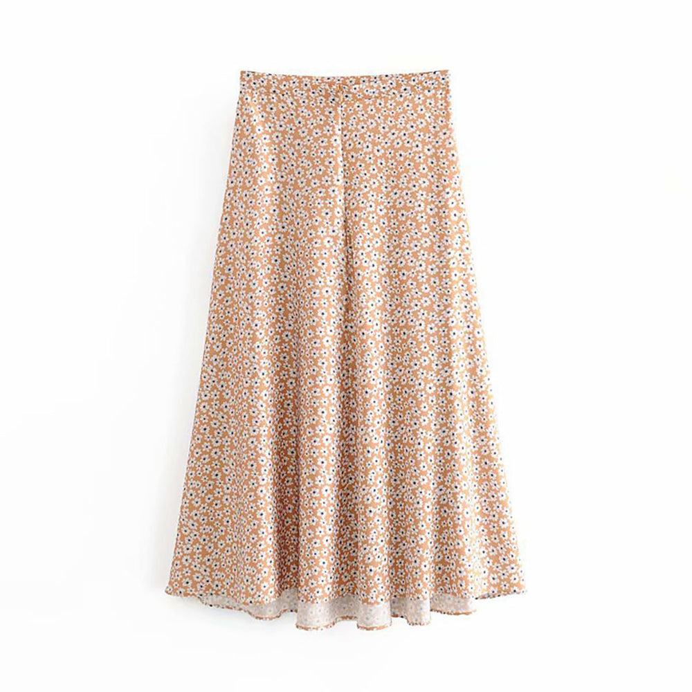 Emmy Floral Skirt In Nude