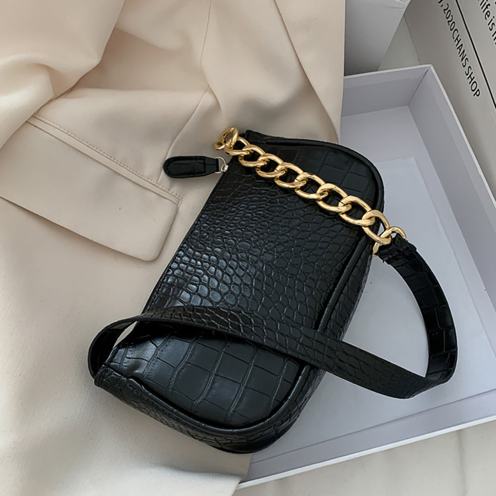 Colette Croc Bag In Black