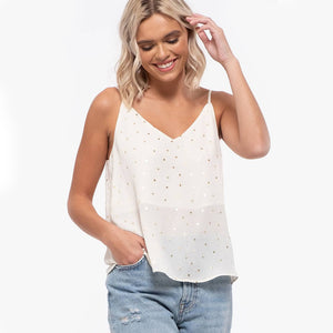 Emila Luxe Dot Print Cami In Cream