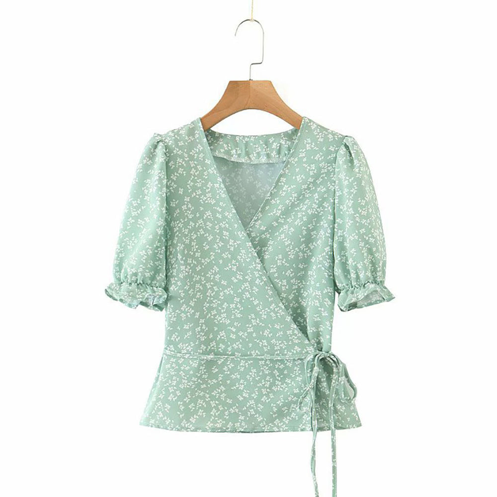 Eleanor Ditsy Wrap Top In Green