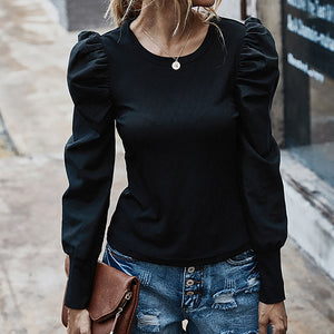 Niamh Puff Sleeve Top In Black