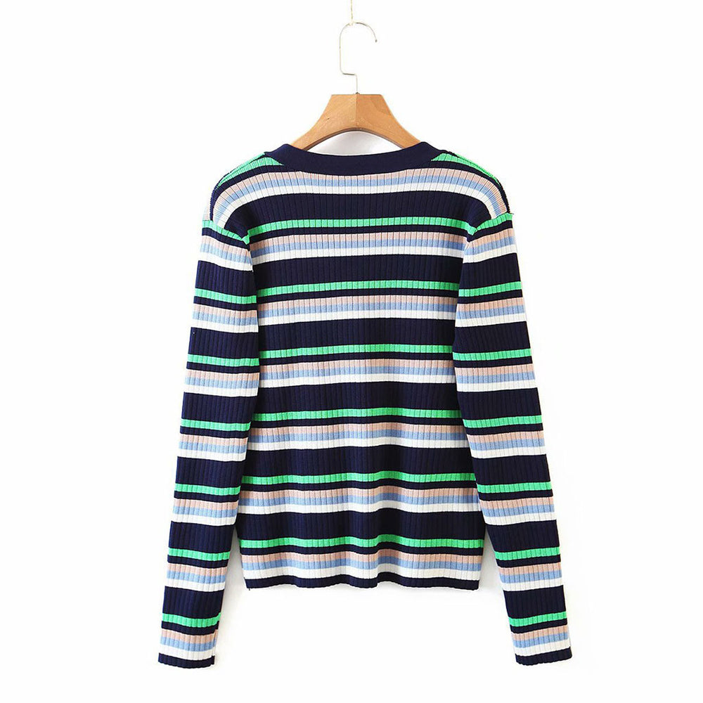Darcy Stripe Sweater In Navy