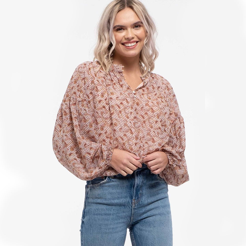 Beatrice Balloon Heming Print Top