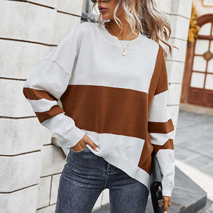 Khloe Two Tone Jumper In Brown