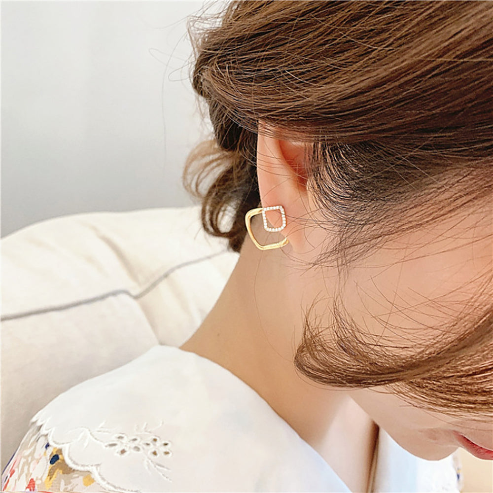 Averi Double Stud Earrings In Gold