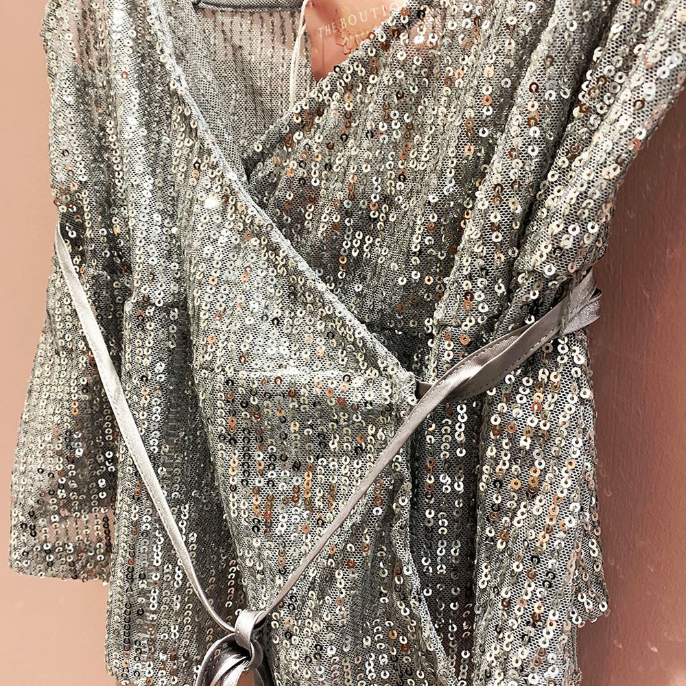 Selena Sequinned Wrap Top In Silver