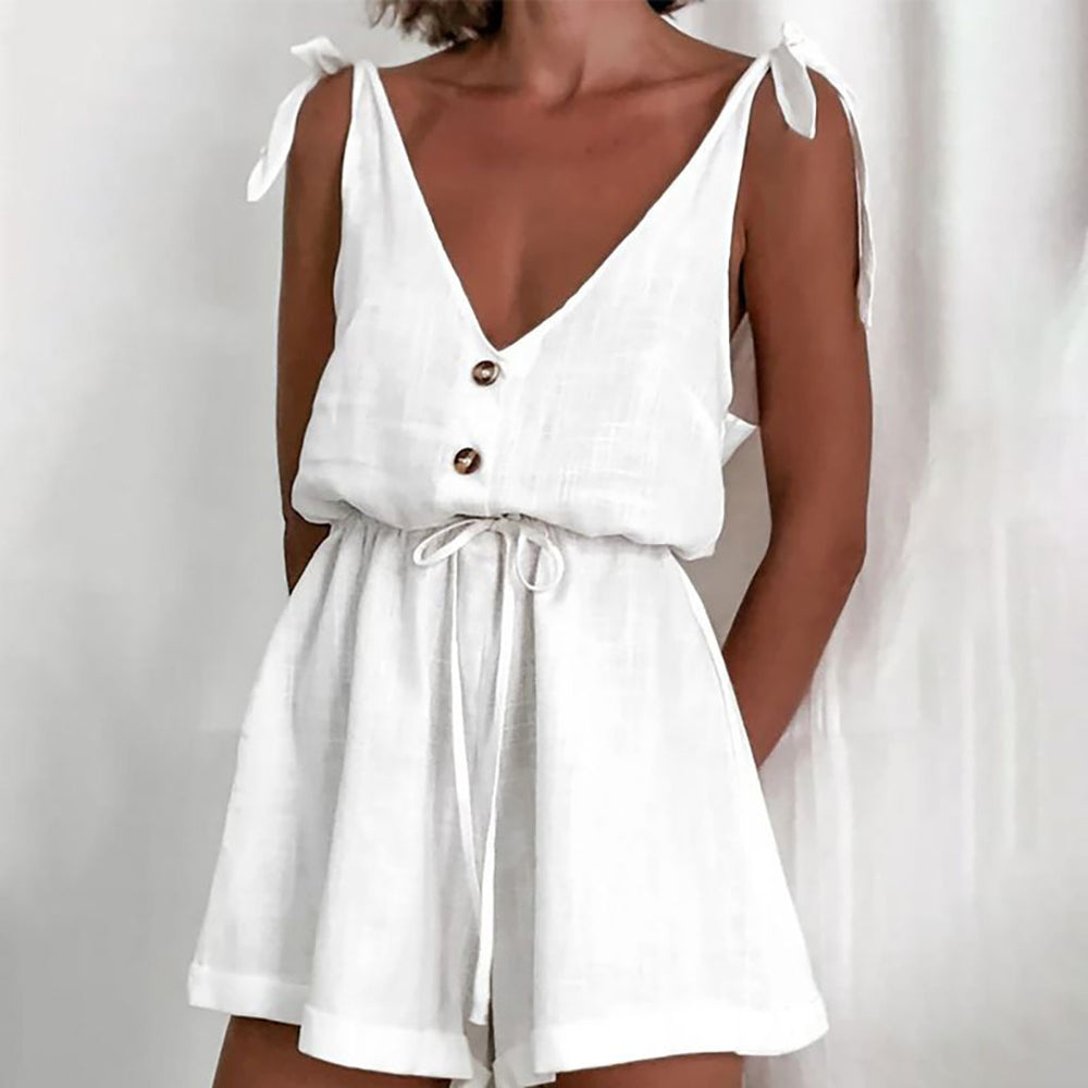 Louisa Tie Linen Playsuit In White
